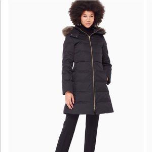Kate Spade black faux fur trim puffer coat